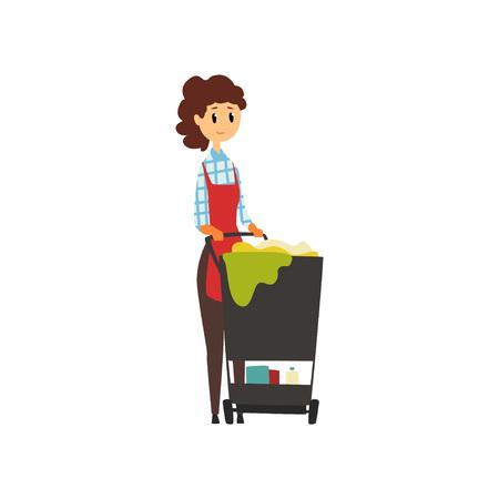 Travailleuse, debout près de chariot avec des outils de nettoyage. Concept de service de ménage. Gouvernante de l'hôtel. Jeune fille en uniforme Professionnel au travail. Illustration vectorielle plane isolé sur fond blanc. Banque d'images - 93381093