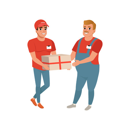 Postal worker giving parcel to young courier. Adult man with mustache in working overalls. Handsome delivery guy in cap, t-shirt and jeans. Cartoon male characters. Isolated flat vector illustration. Illustration
