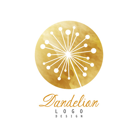 Golden logo with abstract dandelion plant. Medical herb. Botanical label. Original design for business card, natural product packing, fashion boutique. Vector illustration isolated on white background Illustration