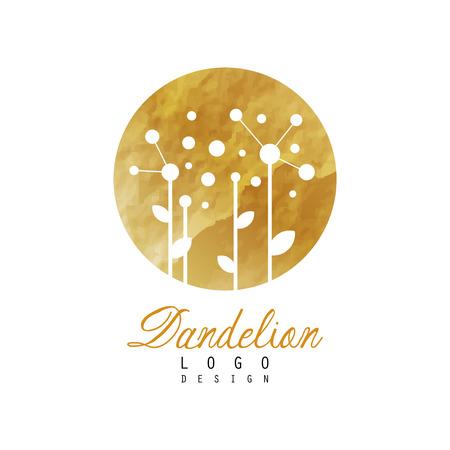 Abstract logo-ontwerp met paardebloem op gouden gedetailleerde textuur. Origineel bloemsymbool. Ontwerp voor een natuurlijk productlabel, kruidenwinkel of wellnesscentrum. Vector illustratie geïsoleerd op een witte achtergrond.