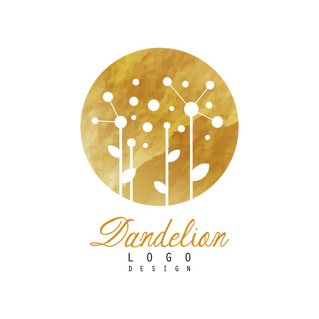 Abstract logo design with dandelion on golden detailed texture. Original flower symbol. Design for natural product label, herbal shop or spa center. Vector illustration isolated on white background. Vettoriali