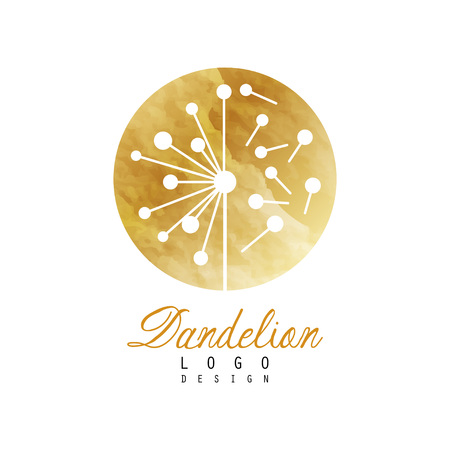 Luxury dandelion logo design template. Textured golden emblem with wild flower. Vector illustration isolated on white background. Ilustracja