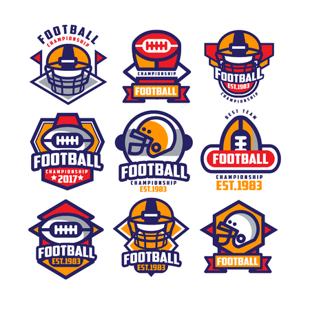 Collection of colorful American football logo. Labels with oval-shaped rugby balls and protective helmets. Sports emblems. Design for team badge. Flat vector illustration isolated on white background.