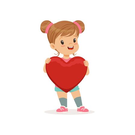 Sweet little girl holding red heart, Happy Valentines Day concept, love and relationships vector Illustration on a white background Illustration