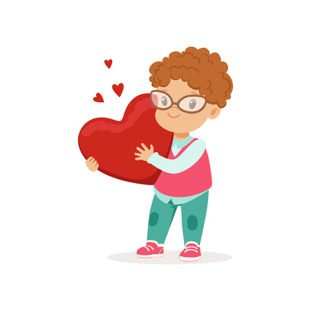 Cute little boy in glasses holding red heart, Happy Valentines Day concept, love and relationships vector Illustration on a white background