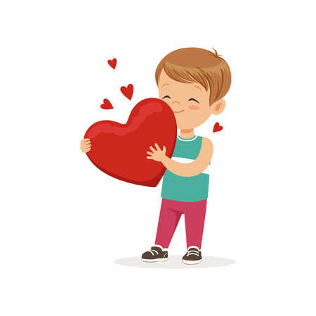 Cute little boy holding red heart, Happy Valentines Day concept, love and relationships vector Illustration on a white background