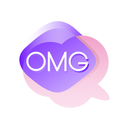 Colorful transparent speech bubble with acronyms OMG. Dialogue cloud in pink and purple color. Illustration