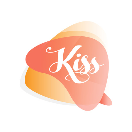 Colorful transparent speech bubble with word Kiss Ilustração