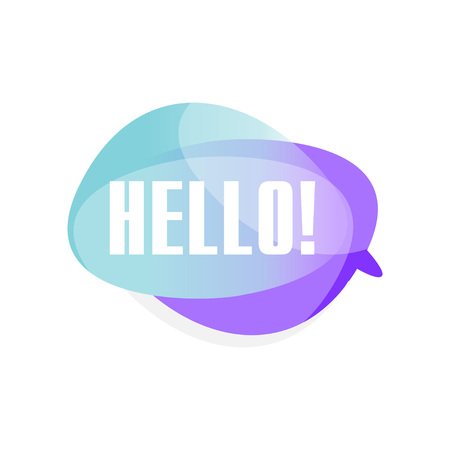 Colored transparent speech bubble with text Hello . Blue and purple cloud with greeting message. Vector illustration isolated on white background. Иллюстрация
