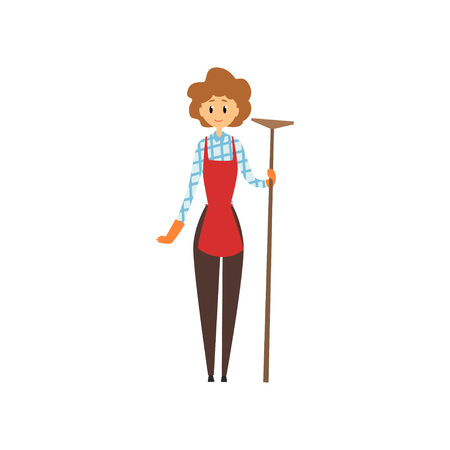 Cute young girl holding wooden mop. Cleaning service concept. Cartoon woman character in maid uniforn brouse.