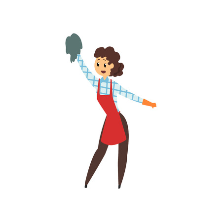 Woman cleaning house with rag. Professional cleaner in maid uniform red apron, brown pants, checkered blouse and rubber gloves.