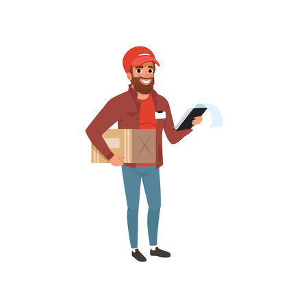 Cartoon courier holding cardboard package and clip board in hands