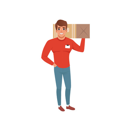 Smiling delivery man holding box on his shoulder. Courier service. Cartoon male character in working uniform red sweater and blue jeans. Flat vector design
