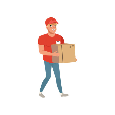Cartoon delivery man carrying cardboard box. Smiling courier character in working uniform red t-shirt, cap and blue jeans. Post office worker. Flat vector design