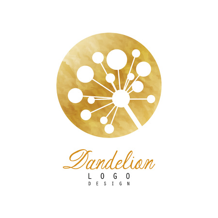 Circular dandelion logo design. Natural symbol. Luxury label with golden texture. Original vector emblem for beauty center, spa salon or fashion boutique Ilustracja