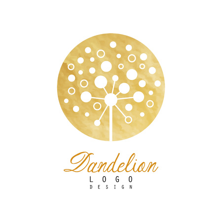 Circle vector logo design of dandelion. Abstract flower. Botanical label with golden detailed texture. Can be used for product cover, natural cosmetics or beauty salon