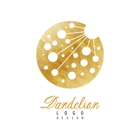 Original logo design of dandelion flower. Symbol of medical herb plant . Golden textured circular icon. Luxury vector emblem for organic product or cosmetics