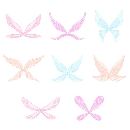 ピンク、ブルー、パープルの妖精の魔法の翼のベクトルコレクション。子供の本、はがき、印刷デザインのための装飾的な要素。カラフルなフラッ