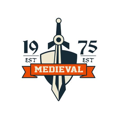 Medieval logo, est 1975, vintage badge or label, heraldry element vector Illustration on a white background Illustration