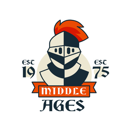 Middle ages logo, esc 1975, vintage badge or label, heraldry element vector Illustration on a white background