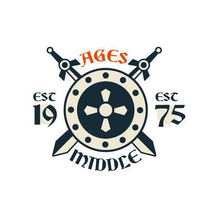 Middle ages icon, esc 1975. Vintage badge or label with crossed swords and shield, heraldry element vector Illustration on a white background.