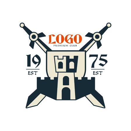 premium club, est 1975 vintage badge or label, heraldry element vector Illustration on a white background Illustration