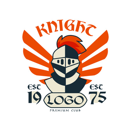 Knight icon, premium club, esc 1975. Vintage badge or label, heraldry element vector Illustration on a white background. Illustration