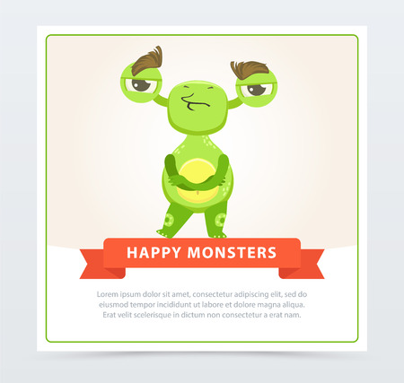 Cute skeptical funny green monster standing with folded hands, happy monsters banner cartoon vector element for website or mobile app with sample text