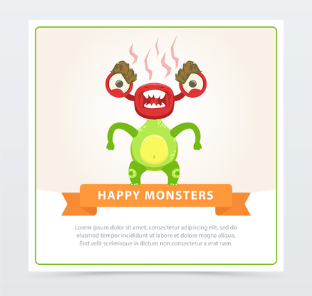 Cute funny green monster fuming with rage, happy monsters banner cartoon vector element for website or mobile app with sample text Ilustração