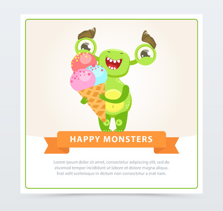 Cute happy green monster holding ice cream, happy monsters banner cartoon vector element for website or mobile app with sample text Çizim