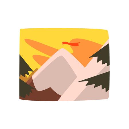 Ochtend in de bergen, mooie landschapsachtergrond, horizontale vectorillustratie op een witte achtergrond