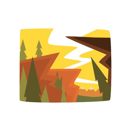 Ochtend in de bergen, de mooie achtergrond van het de zomerlandschap, horizontale vectorillustratie op een witte achtergrond