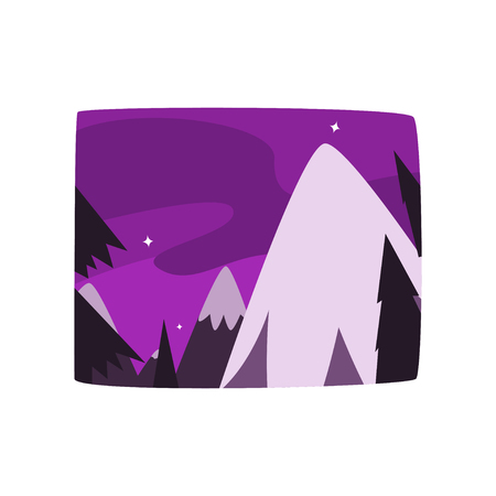 Snowy mountains at night time, beautiful landscape background, horizontal vector illustration on a white background