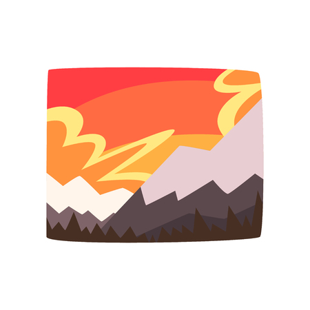 Snowy rocky mountains at sunset, beautiful landscape background, horizontal vector illustration on a white background Ilustrace
