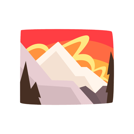 Snowy rocky mountains at sunset, beautiful winter landscape background, horizontal vector illustration Çizim