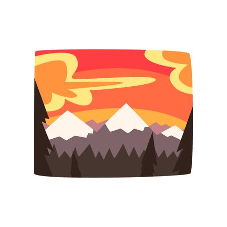 Rocky mountains at sunset, beautiful nature landscape background, horizontal vector illustration