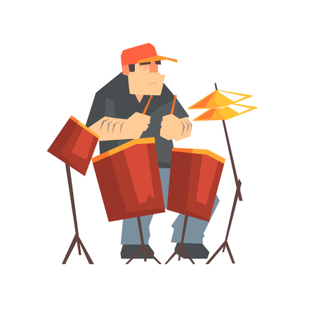Brutal male drummer playing drums, man sitting behind the drum kit cartoon vector Illustration on a white background Illustration