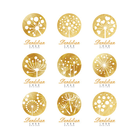 Dandelion logo template set, beautiful nature badge for your own design vector Illustrations on a white background