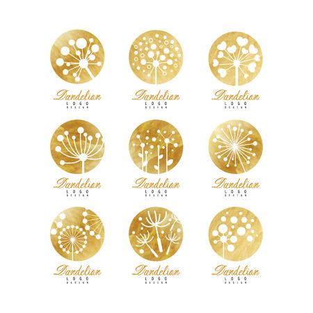 Paardebloem logo sjabloon set, prachtige natuur badge voor uw eigen ontwerp vectorillustraties op een witte achtergrond
