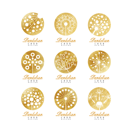 Dandelion logo set, beautiful nature badge for your own design vector Illustrations on a white background Vettoriali