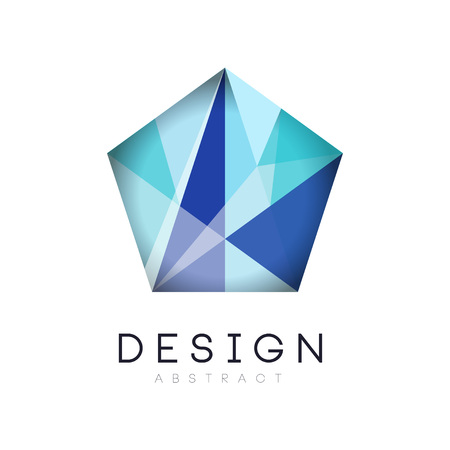 Original crystal logo in gradient blue color. Company branding identity. Luxury geometric icon label. Vector design for business sign, flyer, website or print