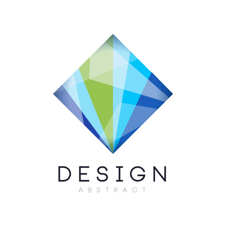 Creative crystal logo template. Diamond-shaped icon in gradient blue and green colors. Abstract vector design for business card, company or web site Ilustração