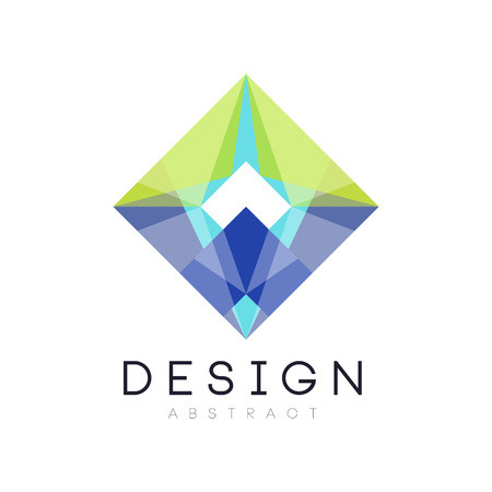 Colorful geometric logo template. Abstract diamond-shaped icon in gradient blue and green colors. Vector illustration isolated on white background. Design for mobile app, business company or card.