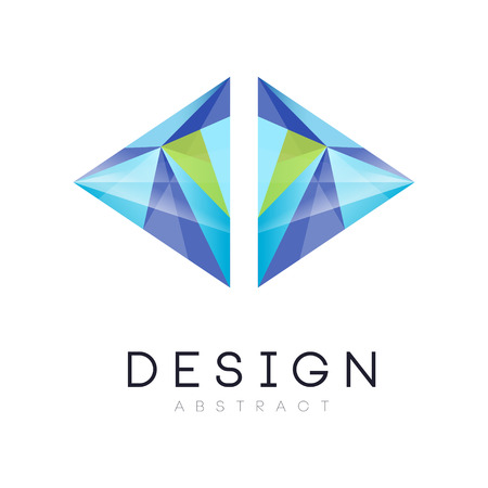 Original vector logo in modern style. Geometric emblem in gradient blue and green colors. Graphic design for business company, web site or mobile app. Vector illustration isolated on white background.