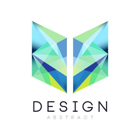 グラデーションの青と緑の色で創造的な幾何学的アイコン。抽象ロゴ テンプレート。会社のブランディングアイデンティティ。Web サイト、モバイル  イラスト・ベクター素材