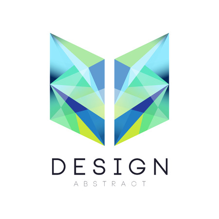 Creative geometric icon in gradient blue and green colors. Abstract logo template. Company branding identity. Vector design for web site, mobile app or business card