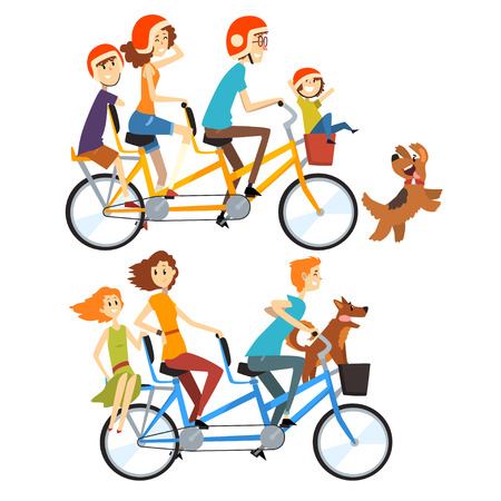Two happy families riding on tandem bicycles with three seats and basket. Parenting concept. Recreation with kids. Cartoon people characters. Flat vector illustration isolated on white background.
