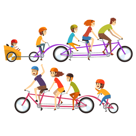 Colorful illustration of two happy families riding on big tandem bike. Concept of funny recreation with kids. Cartoon people characters with smiling faces expressions. Isolated flat vector design. Vettoriali