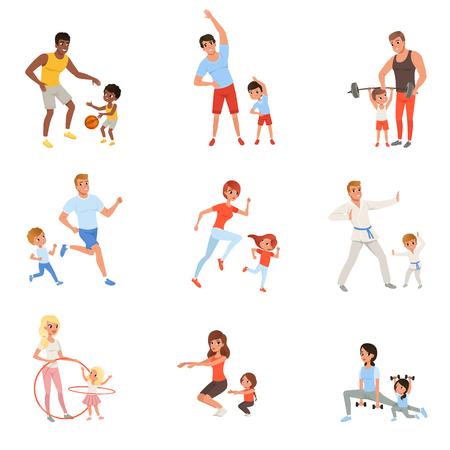 Set mit Eltern und ihre Kinder , die verschiedene Sportübungen tun . Familienzeit . Körperliche Aktivität und gesundes Lebensstilkonzept . Bunte flache Vektor-Design