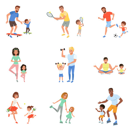 Set of children with their parents playing football, tennis, ping pong, riding on skateboards and rollers, working out with dumbbells and meditating. Family time concept. Cartoon flat vector design. Ilustracja